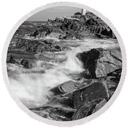 Crashing Waves, Portland Head Light, Cape Elizabeth, Maine  -5605 Round Beach Towel