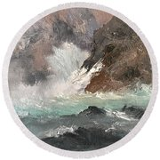 Crashing Waves Seascape Art Round Beach Towel