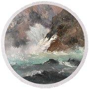 Crashing Waves Seascape Art Round Beach Towel by Michele Carter