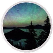 Round Beach Towel featuring the photograph Crater Lake Airglow by Cat Connor