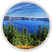 Round Beach Towel featuring the photograph Crater Lake Rim Reflections by Frank Wilson