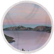 Crater Lake Sunset Round Beach Towel