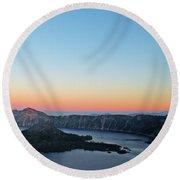 Crater Lake Twilight Round Beach Towel