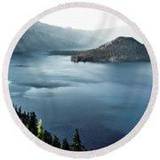 Crater Lake Under A Siege Round Beach Towel