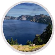 Round Beach Towel featuring the photograph Crater Lake View by Frank Wilson