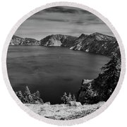 Round Beach Towel featuring the photograph Crater Lake View In Bw by Frank Wilson