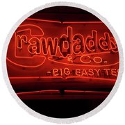 Round Beach Towel featuring the photograph Craw Daddy Neon Sign by Steven Spak