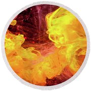 Crazy Chase - Purple And Yellow Abstract Photography Round Beach Towel