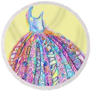 Crazy Color Dress Round Beach Towel