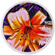 Crazy Day  Lily  Copyright  Mary Lee Parker 17,  Round Beach Towel