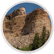 Crazy Horse Memorial Round Beach Towel by Brenda Jacobs