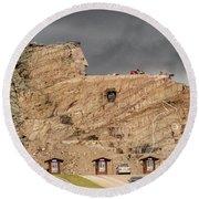 ...entrance Crazy Horse Memorial South Dakota.... Round Beach Towel