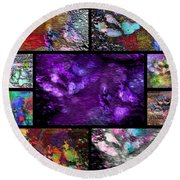 Crazy Paw Print Collage Round Beach Towel