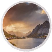 Crazy Sunset In Lofoten Round Beach Towel
