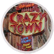 Round Beach Towel featuring the photograph Crazy Town by Stephen Stookey