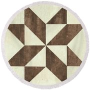 Round Beach Towel featuring the painting Cream And Brown Quilt by Debbie DeWitt
