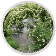 Cream-colored Roses With Your Coffee Round Beach Towel