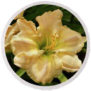Round Beach Towel featuring the photograph Cream Daylily by Sandy Keeton