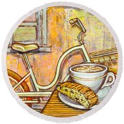 Cream Electra Town Bicycle With Cappuccino And Biscotti Round Beach Towel