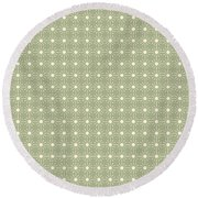 Sage Green And Cream Geometric Flower Pattern Round Beach Towel