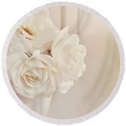 Round Beach Towel featuring the photograph Cream Roses In Vase by Lyn Randle