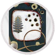Round Beach Towel featuring the painting Creation by Michal Mitak Mahgerefteh