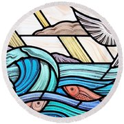 Round Beach Towel featuring the glass art Creation Of The Sea And Sky by Gilroy Stained Glass