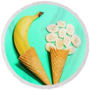 Creative Banana Ice-cream Still Life Art Round Beach Towel