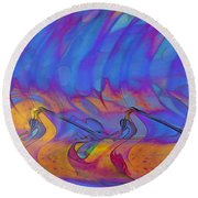 Round Beach Towel featuring the digital art Creative Motion by Linda Sannuti