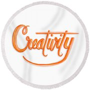 Round Beach Towel featuring the drawing Creativity by Cindy Garber Iverson