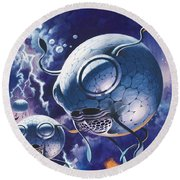Creatures In Outer Space  Round Beach Towel by Wilf Hardy