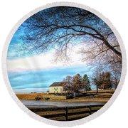Crebilly Farm, West Chester, Pennsylvania Usa Round Beach Towel