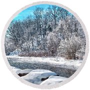 Credit River At Winter Round Beach Towel