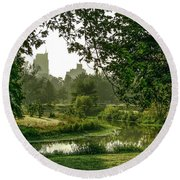 Creek At Forest Park Round Beach Towel