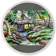 Round Beach Towel featuring the painting Creek Bed And Bridge by Terry Banderas