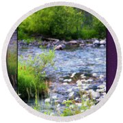 Round Beach Towel featuring the photograph Creek Daisys by Susan Kinney