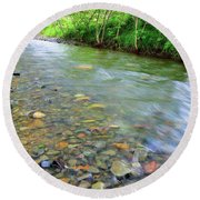 Creek Of Many Colors Round Beach Towel by Donna Blackhall