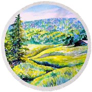 Creek To The Cabin Round Beach Towel