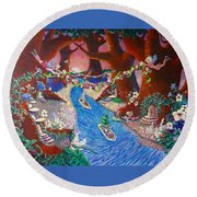 Round Beach Towel featuring the painting Creekside Fairy Celebration by Jeanette Jarmon