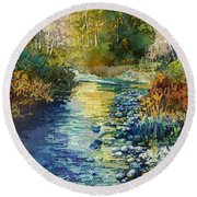 Round Beach Towel featuring the painting Creekside Tranquility by Hailey E Herrera