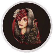 Round Beach Towel featuring the mixed media Creep  by Sheena Pike