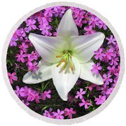 Round Beach Towel featuring the photograph Creeping Fuchsia Phlox With Lily by Nancy Lee Moran