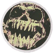 Creepy Face From Nightmares Past Round Beach Towel