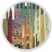 Crenellations Round Beach Towel