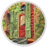 Creole Painted Lady In The Marigny Round Beach Towel