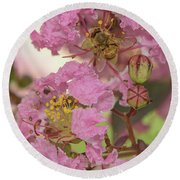 Crepe Myrtle And Bee Round Beach Towel