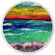 Crepe Paper Sunset Round Beach Towel