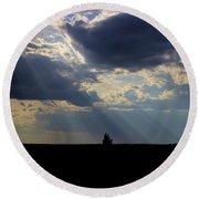 Crepuscular Rays Round Beach Towel