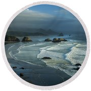 Crescent Beach And Surf Round Beach Towel