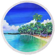 Round Beach Towel featuring the painting Crescent Beach by Patricia Piffath
